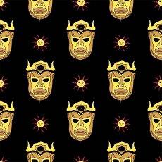 Magic pattern. Sun God. Harpy children. Gold mask on a black background.