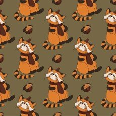 Autumn pattern with animals. Red panda character. Acorns. Autumn background. Print for children\'s textiles and fabrics. Cute animals. illustration..