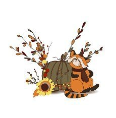 Autumn composition. Pumpkin and autumn twigs isolated on white background. Red panda character. Cute animals in a hat