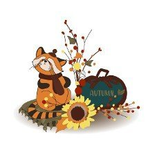 Autumn composition. Autumn decor. Cute red panda. Pumpkin. Harvest. Thanksgiving Day. Illustration isolated on white background.