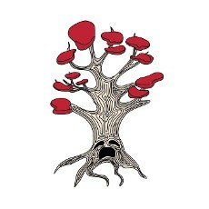 weirwood. A magical tree with a face from Westeros. Isolated on white background. Old tree with eyes and mouth.