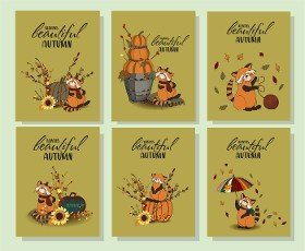 Thanksgiving day greeting card. Hello,  Autumn. Set of autumn posters. Cozy colors. Red panda.