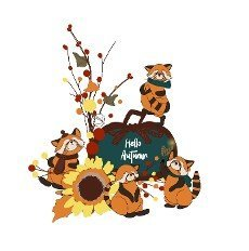 Autumn composition. Autumn poster or card Pumpkin. illustration isolated on white background.
