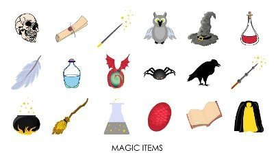 Magic stickers. Collection of mystical magic items. illustration