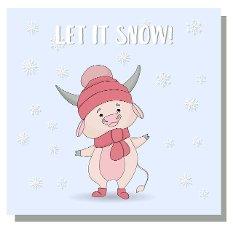Cute bull character in a cap. Snowfall and ox.