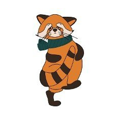 red panda,  cat bear. Character cute beast. Funny animals. Autumn decoration. illustration isolated on white background.