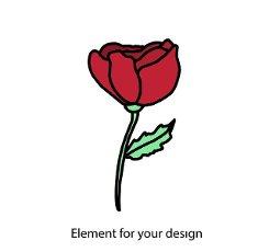Red rose on a white background. Kingdom emblem. illustration.
