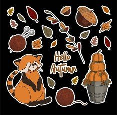 autumn set of stickers. PUMPKINS AND BRANCHES. Autumn leaves. Children\'s print for textiles and clothing. Product design.