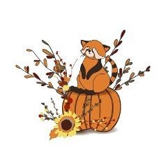 Autumn composition isolated on white background. Autumn sticker. cute animal. Red panda.