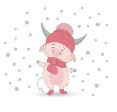 Funny bull character isolated on white. Cow in a hat. The ox is white.