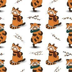 Autumn pattern with animals. Red panda character. Acorns. Autumn background. Print for children\'s textiles and fabrics. Cute animals. illustration.