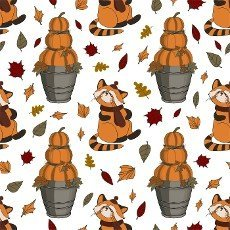 Autumn pattern for children. Red panda. Autumn animals. pumpkins. Thanksgiving day illustration.
