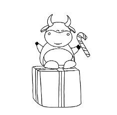 Year of the bull. Ox coloring page The animals are horned. Children\'s illustration bull or ox. Christmas and New Year. symbol of the year. 2021,
