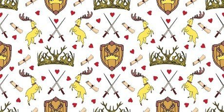 Fantasy seamless pattern. Shield with oleenbmi horns. Crown baptized swords. Sign of the great house. Horned animals deer. illustration.