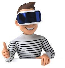 Fun 3D illustration of a cartoon man with a VR helmet