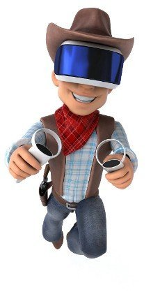 Fun 3D Illustration of a cowboy with a VR Helmet