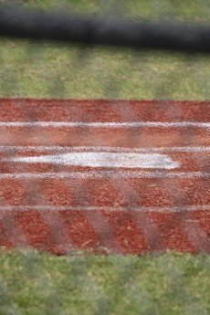 Close up of home plate in an empty baseball field