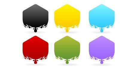 Label drops polygon models with six variation color isolated white background, set of colorful stickers,