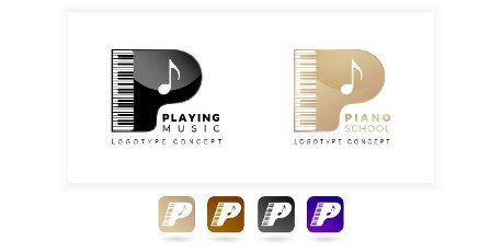 Logo letter P its meaning piano school or playing music. with illustration keyboard. two variation colors black and gold with isolated white background. applicable for logo apps,  logo school,  course.