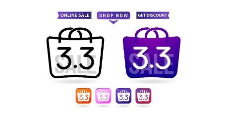 Shopping bag 3.3 sale,  handbag 3.3 woman of months sale,  labels and tag icons shopping bag and handbag illustration monochrome and colors,  calendar for sale,  poster,  flyer and banners for e-commerce.