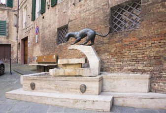 """Advertising sculpture Sienese contrada """"Panther"""". Siena. Italy"""