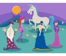 Cartoon illustrations of wizards and witches with unicorn fantasy characters group