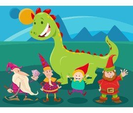 Cartoon illustrations of dwarfs and dragon fantasy characters group