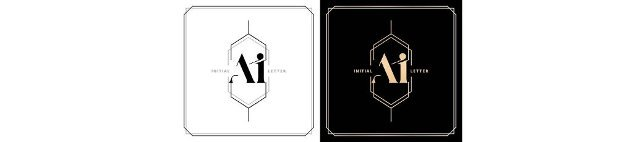 AI or IA initial letter and graphic name,  IA or AI Monogram with polygonal frames and border,  for Wedding couple logo monogram,  with two colors variation designs with isolated black white backgrounds