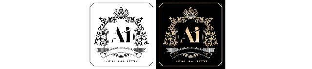 AI or IA royal emblem with crown,  initial letter and graphic name Frames Border of floral designs with two variation colors,  AI or IA Monogram,  for insignia,  initial letter frames,  wedding couple name