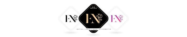 EN initials letters and graphic name symbols,  EN Monogram,  for Wedding couple logo title alphabet,  logo company and icon corporate,  with three colors variation designs with isolated white backgrounds.