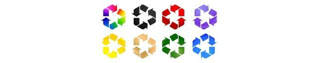8 Recycle icon colors set,  set of shapes,  with isolated white backgrounds. applicable for product packaging on industry label and symbolic nature.