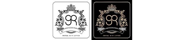 GR royal emblem with crown,  black white and black golds labels,  initial letter and graphic name Frames Border of floral designs,  GR Monogram,  for insignia,  initial letter frames,  wedding couple name.