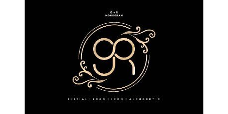 GR monogram infinity model with floral ornament,  initial letter and graphic name with golds colors isolated black backgrounds,  for insignia,  initial letter graphic name,  couple name letterpress.