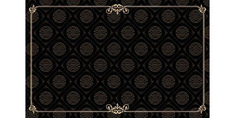 Rectangle ornament corner gold frame and border with black background Chinese seamless pattern textured for greeting cards,  certificate,  backdrop,  banner,  poster,  and invitation wedding ethnic Asians