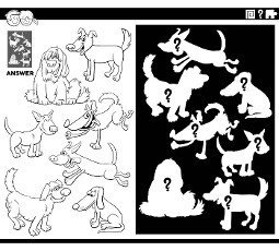 Black and white cartoon illustration of match pictures and the right shape or silhouette with dogs animal characters educational game for children coloring book page
