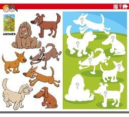Cartoon illustration of match pictures and the right shape or silhouette with dogs animal characters educational game for children