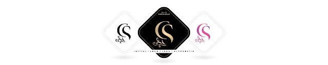 CS initial letter and graphic name,  CS Monogram,  for Wedding couple logo monogram,  logo company and icon business,  three colors variation designs with isolated white backgrounds