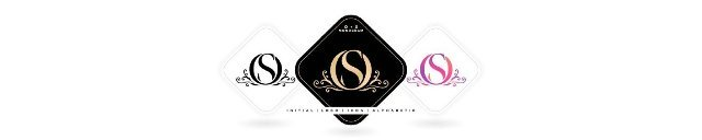 OS initial letter and graphic name,  OS Monogram,  for Wedding couple logo monogram,  logo company and icon business,  with three colors variation designs with isolated white backgrounds