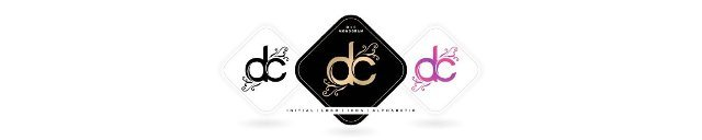 DC initial letter and graphic name,  DC Monogram,  for Wedding couple logo monogram,  logo company and icon business,  with three colors variation designs with isolated white backgrounds