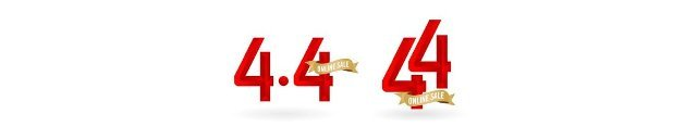 4.4 Mega sale,  4.4 online sale,  with gradient red and golden ribbon applicable poster or flyer design,  social media banner,  online shop promotion,  web banner store and retail,  agency advertise media