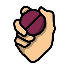 Hand Holding Cricket Ball Icon. Editable Bold Outline With Color Fill Design. Vector Illustration.
