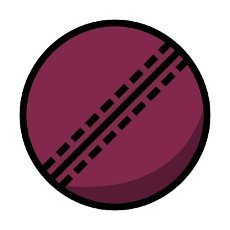 Cricket Ball Icon. Editable Bold Outline With Color Fill Design. Vector Illustration.