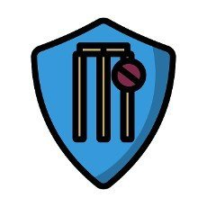 Cricket Shield Emblem Icon. Editable Bold Outline With Color Fill Design. Vector Illustration.