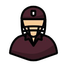Cricket Player Icon. Editable Bold Outline With Color Fill Design. Vector Illustration.