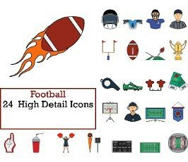 Football Icon Set. Flat Color Outline Design With Editable Stroke. Vector Illustration.