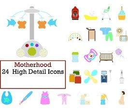 Motherhood Icon Set. Flat Design. Fully editable vector illustration. Text expanded.