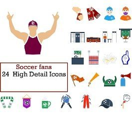 Soccer Fans Icon Set. Flat Design. Fully editable vector illustration. Text expanded.