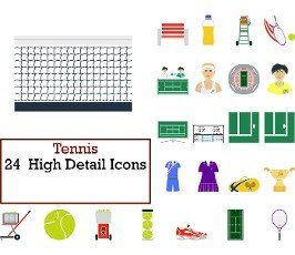 Tennis Icon Set. Flat Design. Fully editable vector illustration. Text expanded.