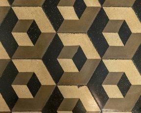 detail of vintage hexagonal geometric graniglia tiles,  shot at Mediterranean little town of Chiavari,  Genova,  Liguria,  Italy.