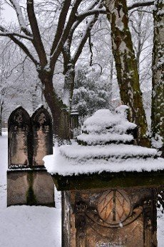 historival cemetery in Hannover in the winter with snow
